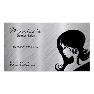 Stainless Steel Beauty Salon w/ Appointment Date Business Card Template