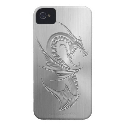 Stainless Steel Effect Dragon Graphic Blackberry Bold Case