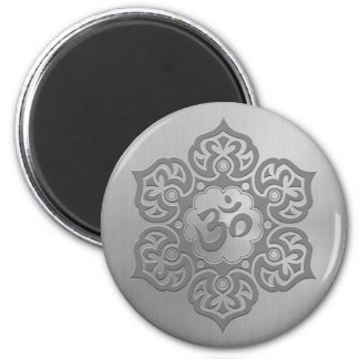 Stainless Steel Effect Floral Aum Graphic 2 Inch Round Magnet