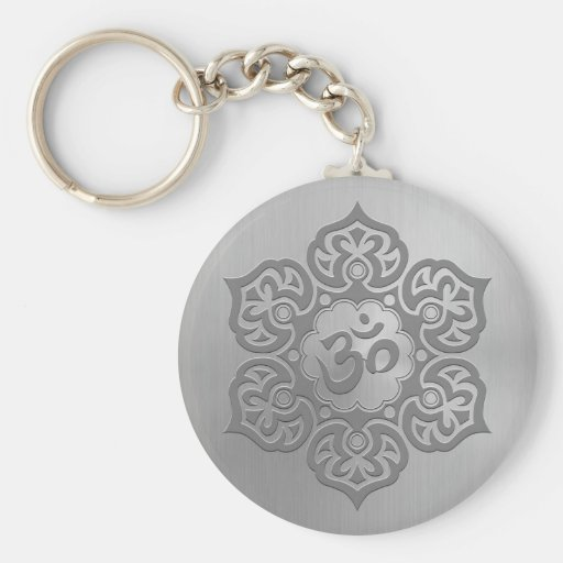 Stainless Steel Effect Floral Aum Graphic Keychains