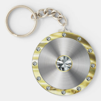 Stainless Steel, Gold & Diamonds Look Keychain