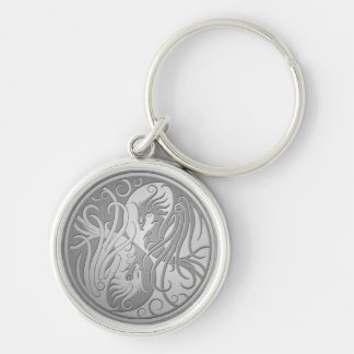 Stainless Steel Look Yin Yang Phoenix Silver-Colored Round Keychain