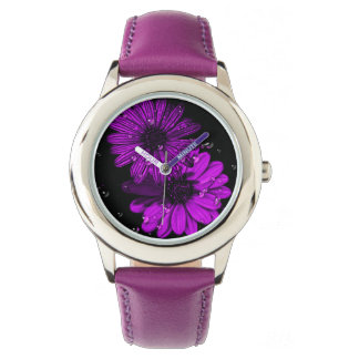 stainless steel purple flower watch