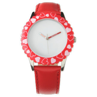 Stainless Steel Red Hearts Watch, Adjustable Bezel Watch