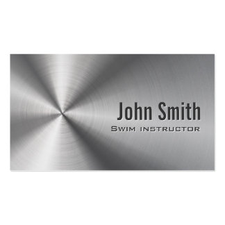 Stainless Steel Swim Instructor Business Card