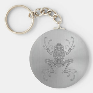 Stainless Steel Tree Frog Basic Round Button Keychain