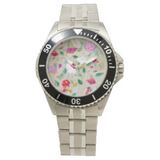 Stainless steel watch with floral motif