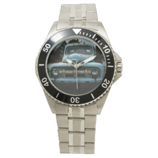 Stainless Steel Watch With Hood of Blue Truck