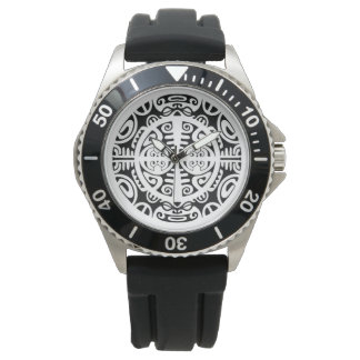Stainless steel watch with Maori symbol face