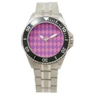 Stainless steel watch with pink and purple face