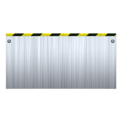 Stainless Steel with Hazard Stripes Personalized Photo Card