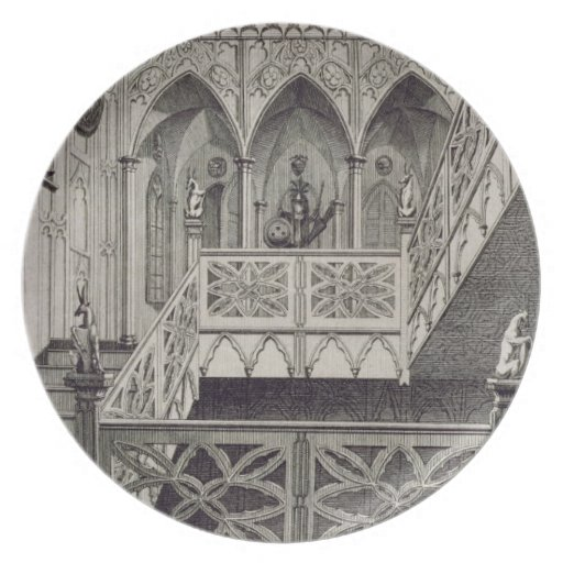 Staircase at Strawberry Hill, engraved by J. Newto Party Plate