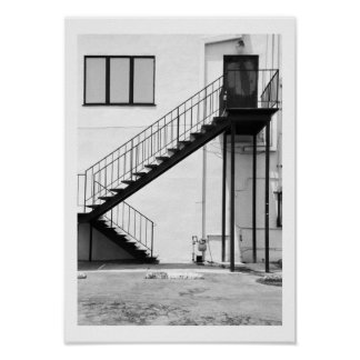 Staircase in Black and White Poster