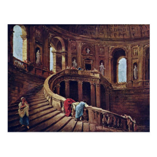 Staircase In The Castle Of Caprarola By Robert Hub Postcard