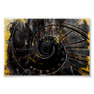 Staircase wall art print - spiral fire tornado