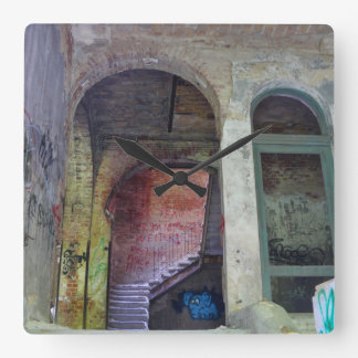 Stairs 02.0 ruin 02, Lost Places, Beelitz Square Wall Clock