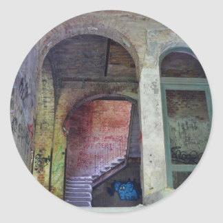 Stairs 02.0 ruin, Lost Places, Beelitz Classic Round Sticker