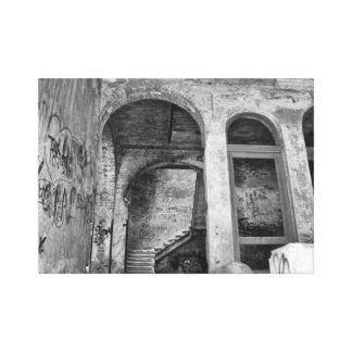 Stairs 04.0 ruin, Lost Places, Beelitz Canvas Print