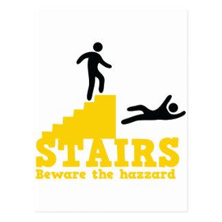 Stairs Beware the Hazzard! Postcard
