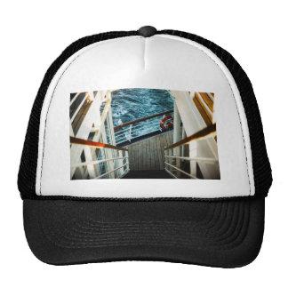 Stairway to next floor of deck in a cruize trucker hat