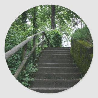 Stairway to the trees classic round sticker