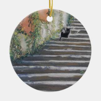 Stairway to Tuscany Black Cat Round Ceramic Ornament