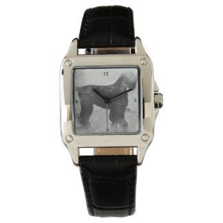 stalin dog Custom Perfect Square Black Leather Wrist Watch