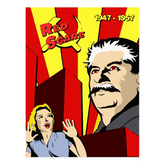Stalin portrait red scare soviet union poster postcard