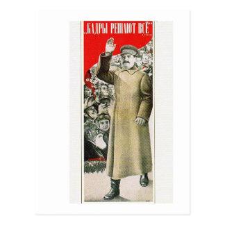 stalin the leader ussr postcard