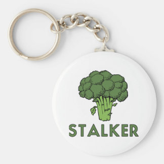 STALKER Funny Broccoli Fun Humor Pun Basic Round Button Keychain