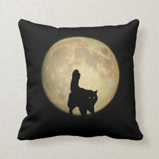 Stalking Black Cat and Full Moon Throw Pillow