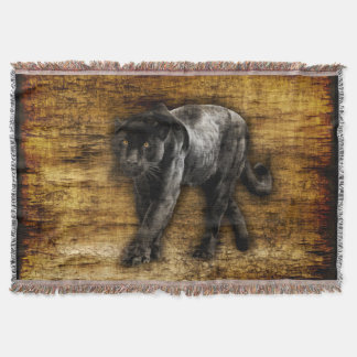Stalking Black Panther Artwork Throw Blanket