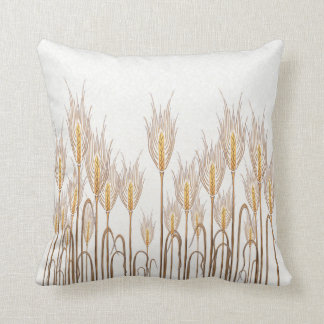 Stalks of Wheat Golden Yellow Mottled White Throw Pillow