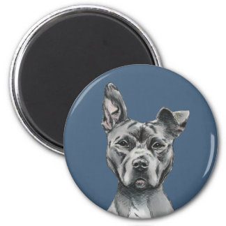 Stalky Pit Bull Dog Drawing 2 Inch Round Magnet