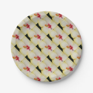 Stamen With Yellow Hibiscus Petal Background Paper Plate
