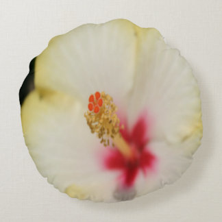 Stamen With Yellow Hibiscus Petal Background Round Pillow