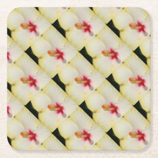 Stamen With Yellow Hibiscus Petal Background Square Paper Coaster