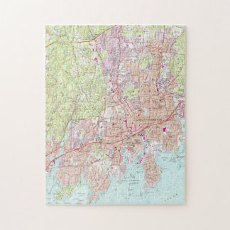 Stamford Connecticut Map (1987) Jigsaw Puzzle