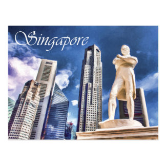 Stamford Raffles Landing Site and Statue Singapore Postcard