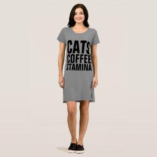 STAMINA Cat Coffee T-shirt Dress