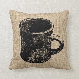 Stamp Look Coffee Mug Throw Pillow