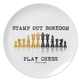 Stamp Out Boredom Play Chess (Chess Set) Party Plates