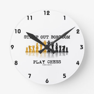 Stamp Out Boredom Play Chess (Chess Set) Wallclock