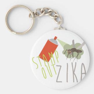 Stamp Out Zika Basic Round Button Keychain