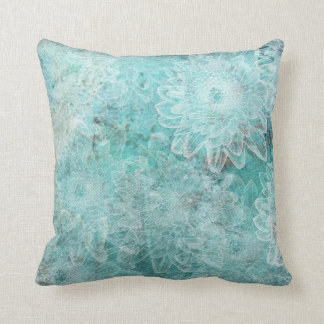 Stamped Flowers on Teal Background Throw Pillow