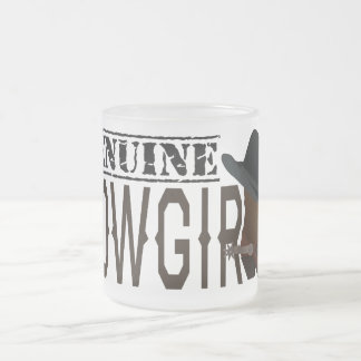 Stamped GENUINE Cowgirl with Boot & Hat Frosted Glass Coffee Mug