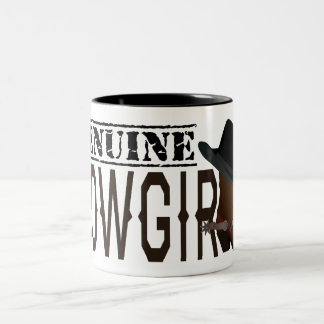 Stamped GENUINE Cowgirl with Boot & Hat Two-Tone Coffee Mug
