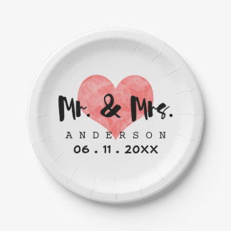 Stamped Heart Mr & Mrs Wedding Date 7 Inch Paper Plate