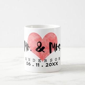 Stamped Heart Mr & Mrs Wedding Date Coffee Mug