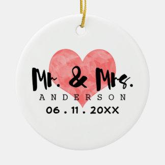 Stamped Heart Mr & Mrs Wedding Date Round Ceramic Ornament
